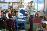 Teacher Zach Rahn (cq) asks a question  during 4th grade literacy class at Cole Arts and Sciences...