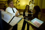 Sen. Chris Romer chats with HS students Serina Ojala, 18 with New Vista HS and Cecelia Kluding, 15...