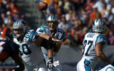 (Denver., on Sun. Oct. 10, 2004)   Carolina Panthers quarterback Jake Delhomme, #17, completes a...