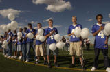 (AURORA, Colo., September24, 2004) The freshman  football team stands at the fifty yardline in a...