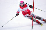 Croatian skier Janica Kostelic competes in a lady's combined event slalom at the FIS Alpine World...