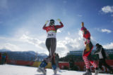 Austrian, Michaela Dorfmeister took the gold medal in the Womens' Super-G Alpine Skiing event at...
