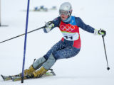 Lindsey Kildow on her first slalom run in the women's combined downhill in Sestriere, Italy on...