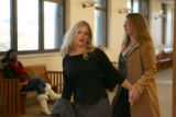 Former Brighton Charter School teacher Carrie McCandless, leaves a Larimer County courtroom in Ft....