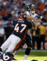 (Denver, Col, September 26, 2004)  Safety John Lynch puts a hit on Chargers quarterback Drew Brees...