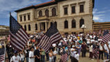 Large crowds turned out at Pioneer Square Park in Colorado Springs in support of a new coalition,...
