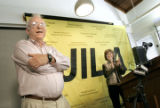 John L. Hall, co-winner of the 2005 Nobel Prize in physics, accepts the applause during a press...