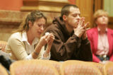 Shanna Ortiz and Nick Foley, cousins of murder victim  Mathew Foley cry as family members testify...