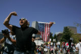 Thousands of immigrants and immigrants' rights supporters marched in Denver as part of a...