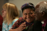 Rigoberta Menchu Tum expresses her deep regard for Desmond Tutu during a press conference at the...