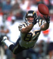 (DENVER, Co., SHOT 9/26/2004) San Diego Chargers' Tim Dwight can't pull in a long pass late in the...