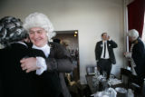 Thomas Jefferson gives Andrew Jackson a hug as they leave the Cheeky Monk at 534 E. Colfax Ave.,...