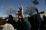 Dan DeMaio, 54, (cq) of Denver, expresses his frustrations to three protesters against the...