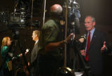 Colorado gubernatorial candidate Bob Beauprez, right, interviews with a TV crew alongside outgoing...