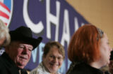 "Dick Dunlap listens to Barack Obama speak during the ""Stand for Change""  town hall..."
