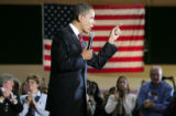 "Barack Obama speaks during the ""Stand for Change""  town hall meeting at the Casper..."