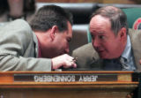 State Representative Jerry Sonnenberg, R- Sterling, left, finds out why he is the butt of a joke...