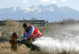 Gabriel Esquibel, a volunteer from Aurora Water Dept. works with the Alamosa Water Dept. as he...