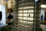 A model of a new high rise is featured in the lobby of 1401 Lawrence  - the 51 story buildign  was...