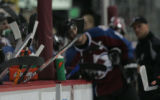 [ JOE063 ] Sticks along the bench during the Colorado Avalanche and Anaheim Mighty Ducks game at...