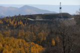 MJM246   A natural gas rig  operated by Williams Energy is surrounded by colorful aspens as it...