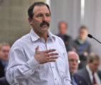 Bill Canterbury (cq) speaks in opposition at the Colorado Wildlife Commission meeting  with ...