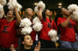 Eaglecrest students background from left- Mariah Yslas, 15, Nika Girenko, 15, Dongwen Liang, 15,...