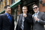 Legislative interns, Ryan Voss (green striped tie), Alex Ziwak (blue shirt) and Quinn Patterson...