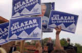 (BOULDER, Colo., September 28, 2004) Mr. Salazar speaking to a mixed audience with Coors signs and...