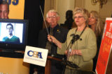 L to R: Sen. Bob bacon (cq) D-Fort Collins, and Rep. Sara Gagliardi (cq) D-Arvada, during press...