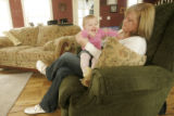 348 Amber and Leia Baum, wife and daughter of Sgt. Ryan John Baum, spend time together at their...
