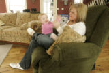 356 Amber and Leia Baum, wife and daughter of Sgt. Ryan John Baum, spend time together at their...