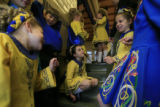 DM0061   Dancers from the Wick School of irish Dance wait backstage before performing at St....