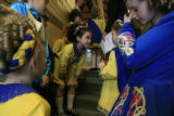 DM0074   Dancers from the Wick School of irish Dance wait backstage before performing at St....