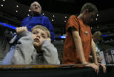 DM0518   Drake Dagli , 4, of Lakewood, Colo. looks bummed after waiting unsuccessfully to get an...