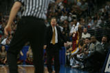 DM0519   Winthrop head coach Randy Peele screams at the official from the bench over a call in the...