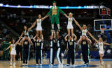 DM1072   The Notre Dame cheerleaders form a pyramid as they celebrate their team's big lead over...