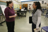 Lincoln High School music teacher Melissa Grundy jokes with student Gabriela Valencia,  16, at the...