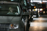 MJM695  Shavaun Holzman (cq) drives a Lincoln MKX as she and other display autos wait to be...