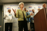 Kansas Gov. Kathleen Sebelius, center, a possible vice presidential candidate, appeared with Gov....