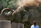 Pachyderm keeper Barb Junkermeier, watches as Asian elephant, Mimi throws dirt on herself at the...