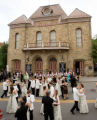 (Central City, Colorado, June 28, 2008) Flower girls, fathers, and escorts dance to the...