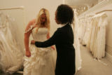 "Bridal consultant Keasha, helps bride-to-be Stacey Kaaz find a dress on TLC's new show ""The..."