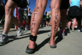 Laurie Turney (cq) of Boulder shows off her survival of breast cancer in 1997 and 2006 during the...