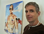 "Artist Jack Balas (cq), with a piece called ""Anchor"" at the Robischon Gallery, Tuesday..."