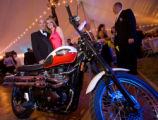 (Littleton, Colorado, July 11, 2008) Phil and Chris Rivard (left) win a Triumph motorcycle during...