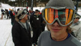 (GEORGETOWN, CO., OCTOBER 15, 2004) Snowboarder, Kalen Bigg, 19, of Denver, waits in line for the...