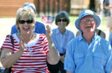 L to R: Keisten Raleigh (cq) and Ed Engelen (cq) enjoy music at an old-fashioned July 4th...