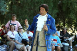 Thomas Jefferson  (Dr. Jack Van Ens) (cq), entertains people during an old-fashioned July 4th...