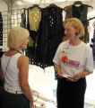 cherry creek Fiber artist Maggy Pavlou, right, of Santa Fe, talks with Gerri Calpin, of Denver,...